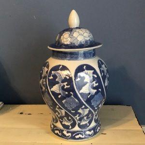 Used blue white ginger jar